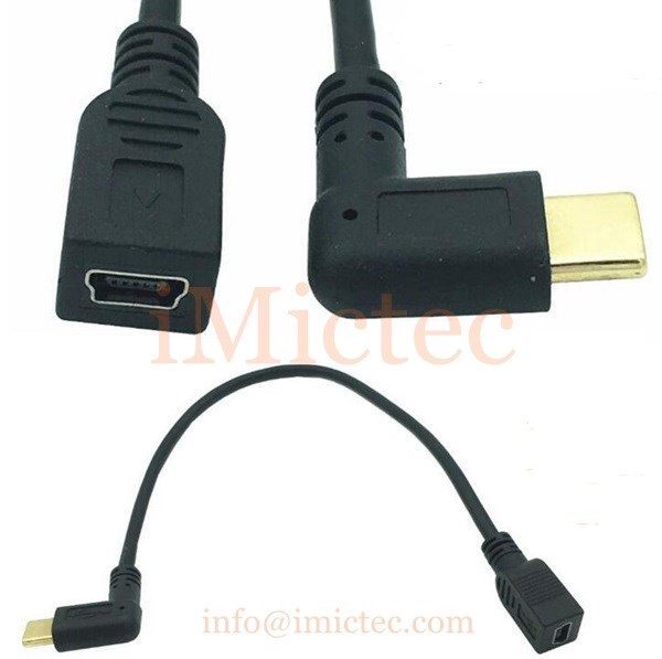 Mini USB2.0 Female to Right Angle Type C cable